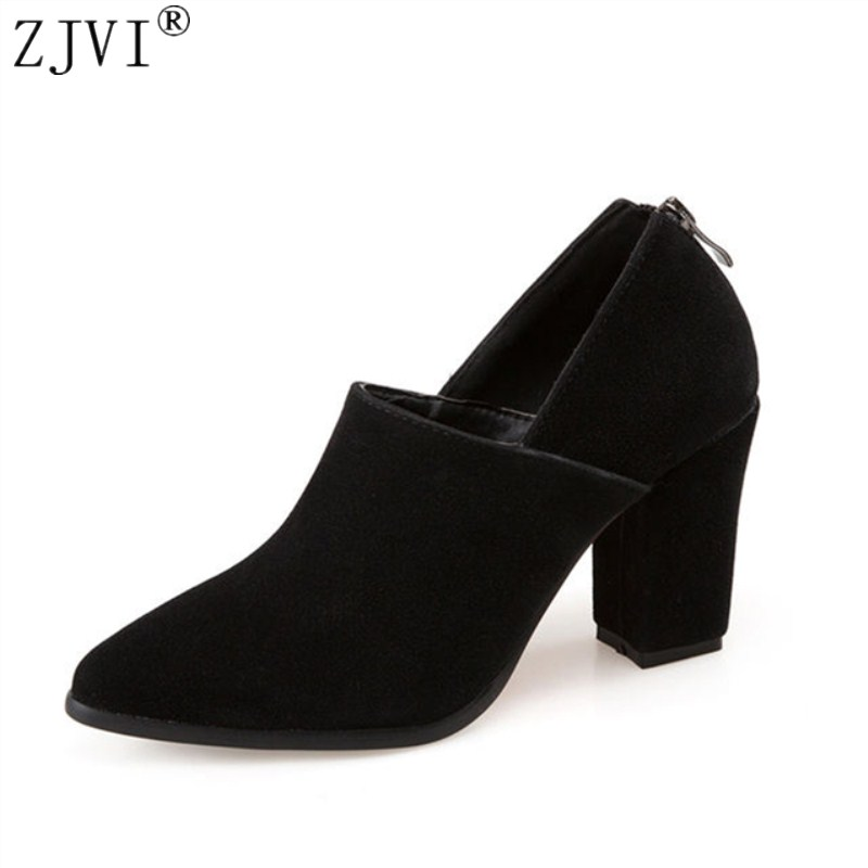 ZJVI woman pointed toe 9cm Thick high heels pumps 2018 women spring autumn shoes ladies women's female nubuck suede casual shoes wetkiss genuine leather lace up pumps female shoes woman pointed toe autumn thick high heels platform ladies shoes black yellow