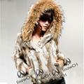 Бесплатная Доставка Подлинная Кролика Шуба с большой шляпе природных мех кролика куртка Женщин короткий Мех Кролика пальто с енота F807