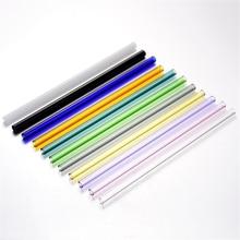 400 шт 18 см/7 дюймов модные горячие цветные боросиликатные Коктейльные стеклянные соломинки 8 мм прямая соломинка для питья Вечерние
