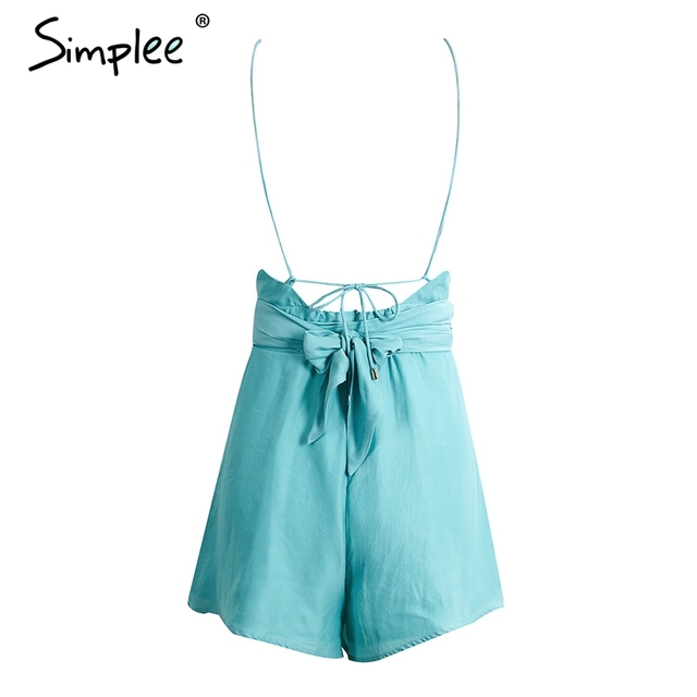 Simplee Halter neck cut out jumpsuit romper women Backless strap sashes short overalls 2017 Summer party beach playsuit