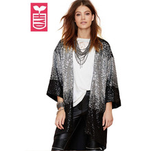 HYD 2016 High quality bling sequins Open stitch long Dust coat Girls OL loose gradient color beading clothing Autumn