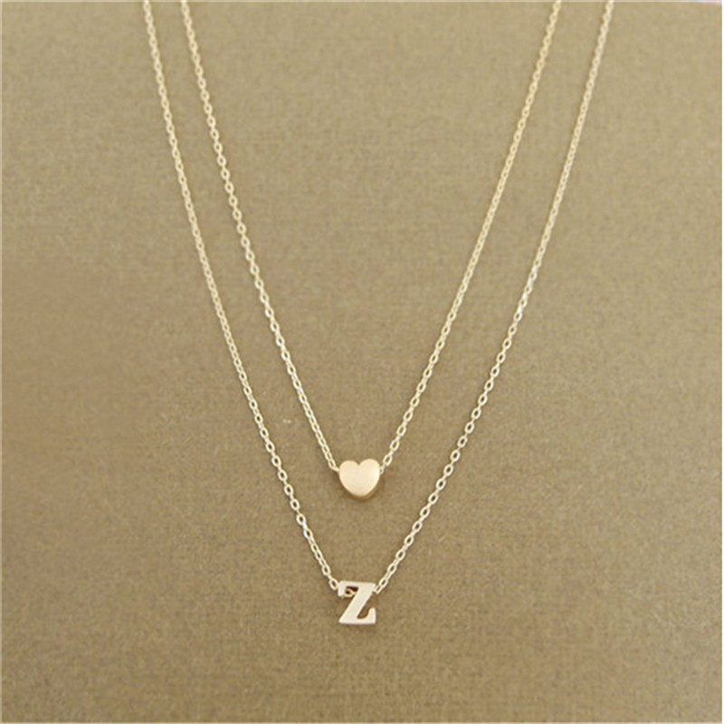 New fashion tiny dainty heart initial double layer initial letter new fashion tiny dainty heart initial double layer initial letter necklace personalized necklace name jewelry friend gift collar in pendant necklaces from mozeypictures Images