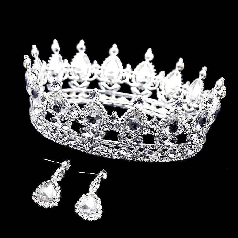 Hair-Jewelry Tiara Crowns Crystal Rhinestones Round Bride Quinceanera Pageant-Queen Luxury
