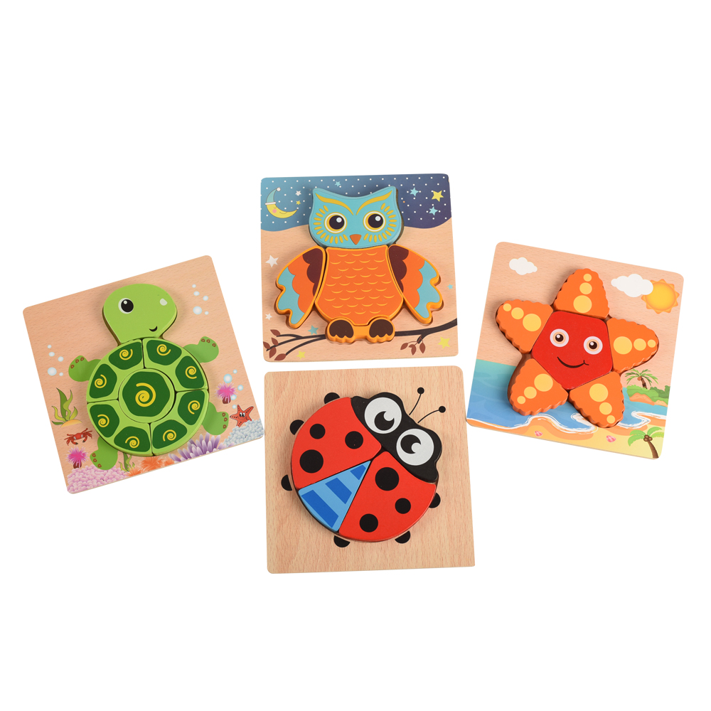 Easy Grasp Toy for Toddlers Kids Wooden Animals Primary Chunky Jigsaw Puzzles