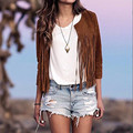 New Autumn Vintage Women Faux Suede Punk Tassels Fringed Casual Short Jacket Coat Cardigan Ladies Long Sleeve Outwear