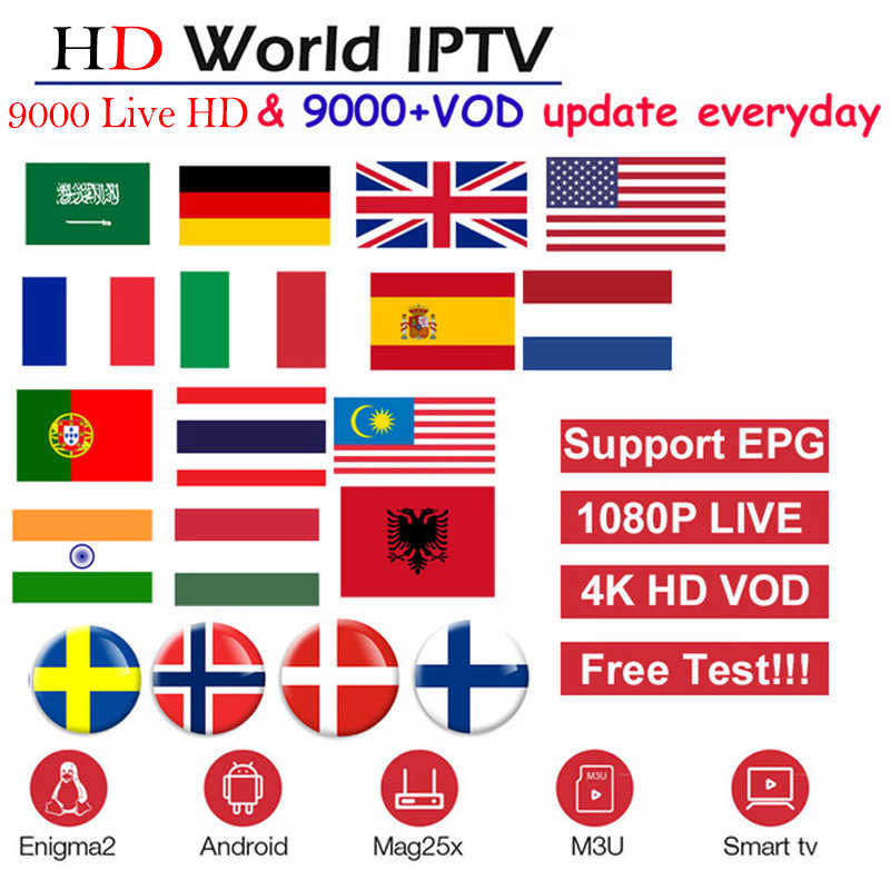 Full HD World IPTV+9000 Live 9000 VOD Adult 4K Europe Dutch Israel Spain Germany Itlay Arabic USA IPTV subscription Smart TV M3U