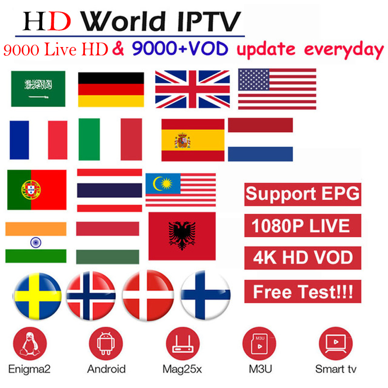 HD World IPTV +9000 Live 9000 VOD 4K HD Channel best for Europe Arabic Asian Africa Latino America Android M3U IPTV subscription-in Set-top Boxes from Consumer Electronics