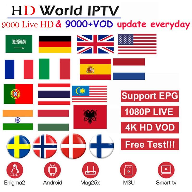HD mundo IPTV + 9000 En directo/Live 9000 VOD 4 K HD canal mejor para Europa árabe Asia África Latino América global IPTV suscripción