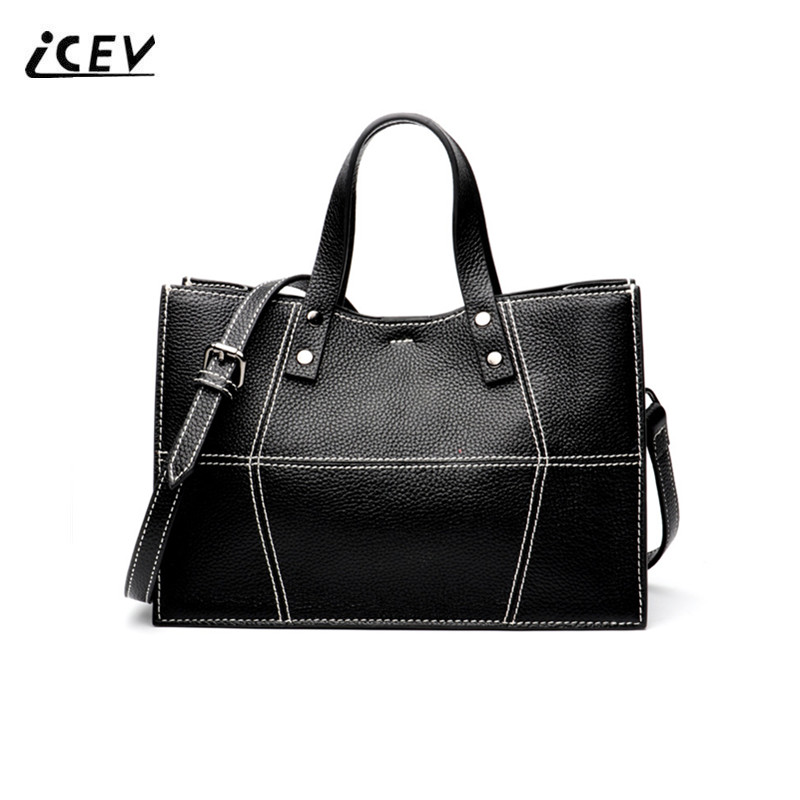 ICEV New Simple Genuine Leather Handbags Bags Handbags Women Famous Brands Women Leather Handbag Thread Totes Bolsa Feminina SacICEV New Simple Genuine Leather Handbags Bags Handbags Women Famous Brands Women Leather Handbag Thread Totes Bolsa Feminina Sac