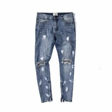 Ripped Knee Holes Vintage Blue Denim Jeans Fear Of God Zippered Leg Opening Slim Fit Spray Paint Biker Jeans