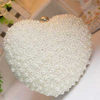 Pearl Women Evening Clutch Bag Chain Purse Ladies Wedding Party Bridal Shoulder Crossbody Bags Heart Shape Cell Phone Pouch
