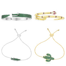 Kakany 925 Sterling Silver Original 1:1 High Quality Crocodile, Snake Cactus Bracelet, Female Jewelry Engraved Logo(China)