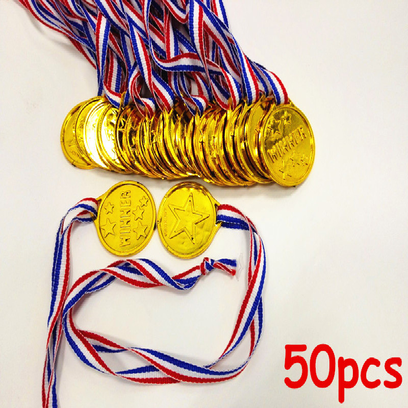 MrY 50pcs Kids Children Gold Plastic Winners Medals Sports Day Party Bag Prize Awards Toys For Kids Party Fun Photo Props