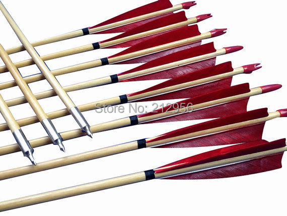 24pcs Fast Shipping-Feather Fletched Archery Wooden arrows for Recurve bows Longbow W3RT2 12 pk wooden arrows turkey zebra patton feather wood shaft archery recurve bow longbow