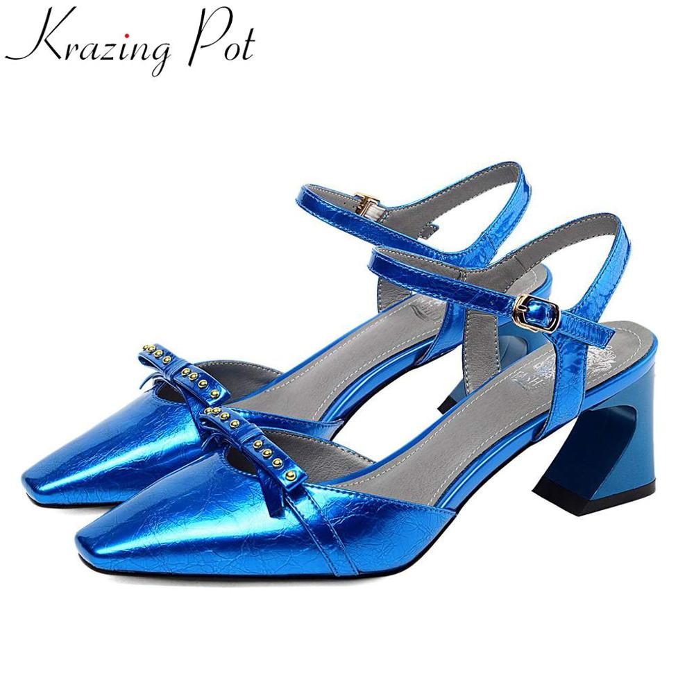 Krazing Pot special cow leather buckle strap butterfly knot decoration high heels women sandals square toe