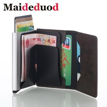 Maideduod HOT SALE Credit Card Holder Men And Women Metal RFID Vintage Aluminium Box Crazy Horse PU Leather Fashion Wallet