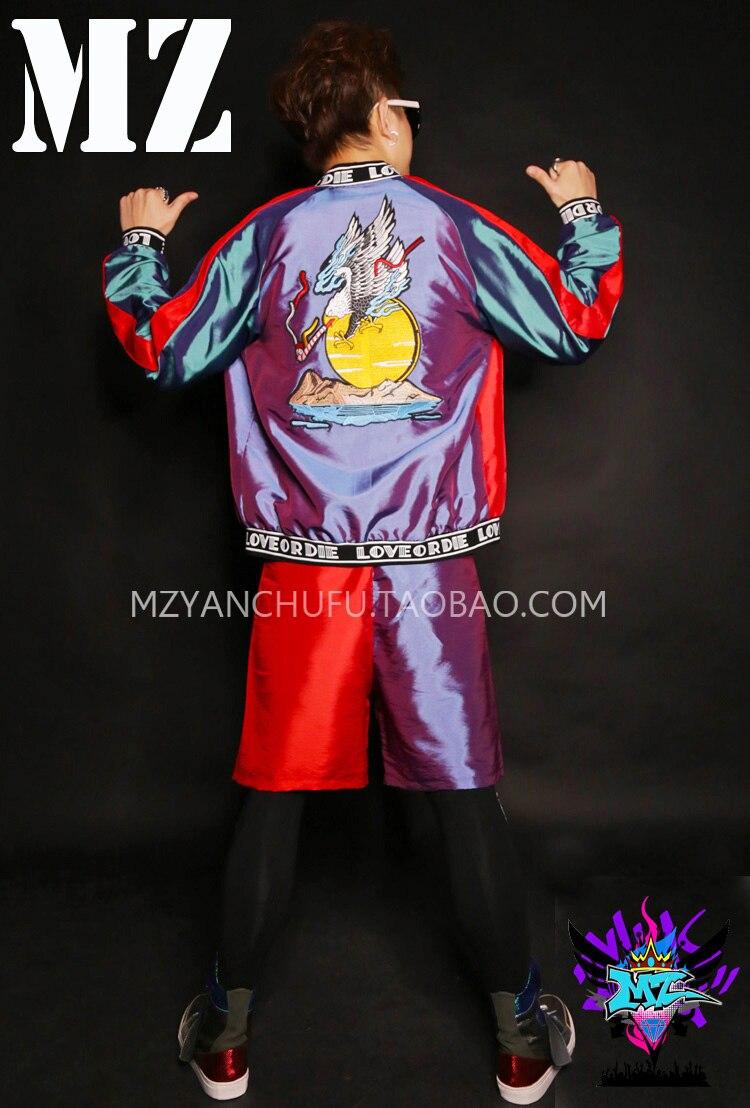 Koreli erkek ince parlak dikiş seti erkek şarkıcı kostüm gece - Erkek Giyim