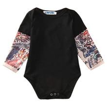Летний хлопковый боди для новорожденных мальчиков, одежда, боди с длинными рукавами и принтом татуировки, комбинезон, черный и серый цвета