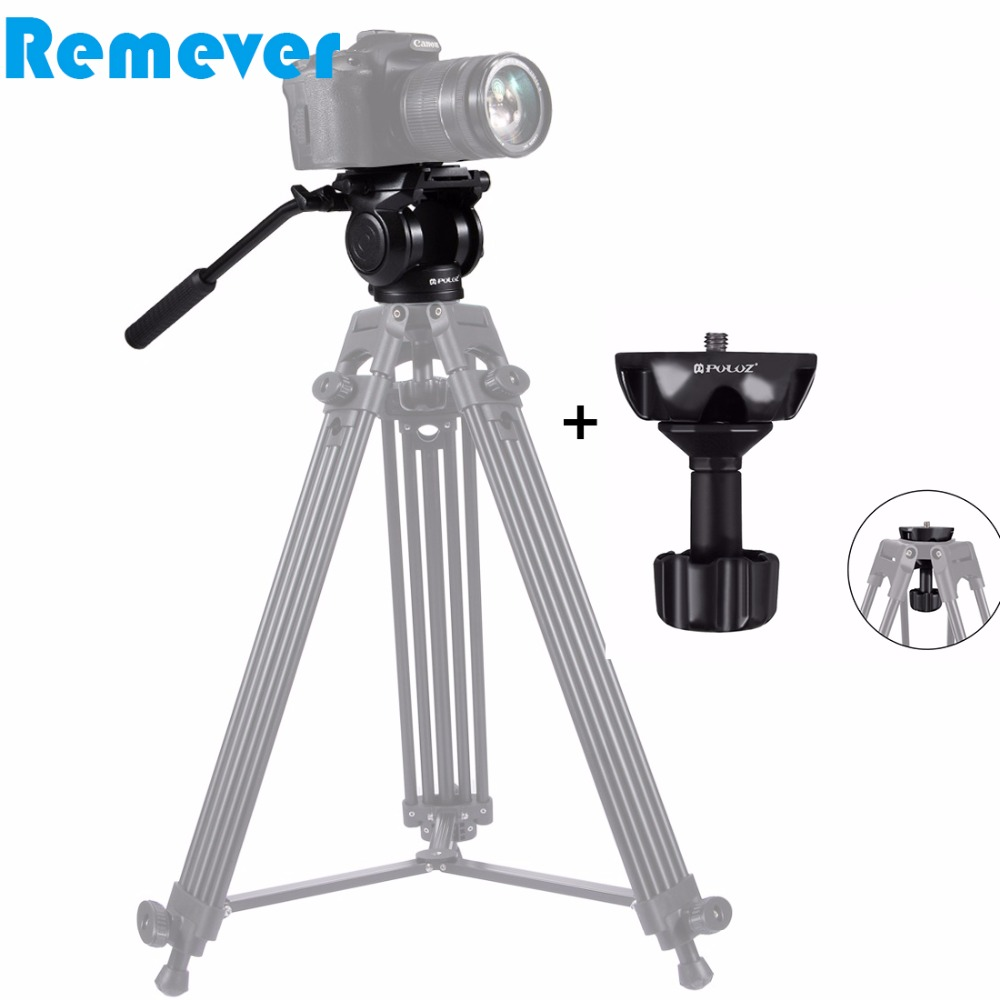 Professional Hydraulic Gimbal tripod Head with Quick Release Plate for Canon Sony Nikon DSLR Cameras Camcorder Video Film Shoot spash video photography fluid drag head hydraulic tripod head quick release plate bubble levels panoramic shooting bird watching