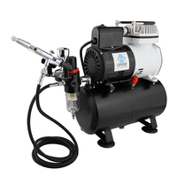 OPHIR Air Compressor Gravity Dual Action Airbrush Temporary Tattoo with 3 Tips Nozzles For Cake Decoration_AC115+070