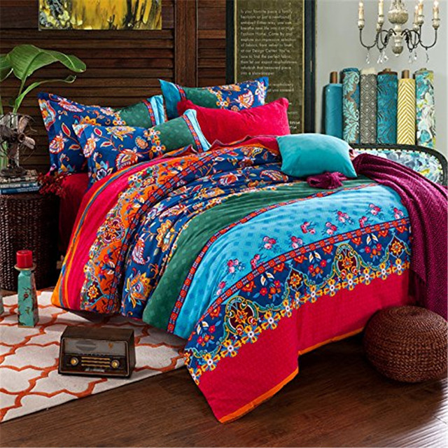 Fadfay Full Queen Size Bedding Sets Bohemian Style Reversible 4pcs Duvet Cover Sets Pillowcases Boho Comforter Covers Flat Sheet