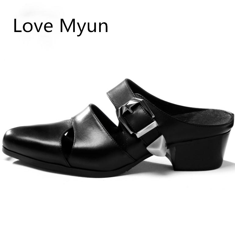 New Summer Men Slippers High Heels Genuine Leather Pointed Toe 5CM Height Increase Men Shoes Casual