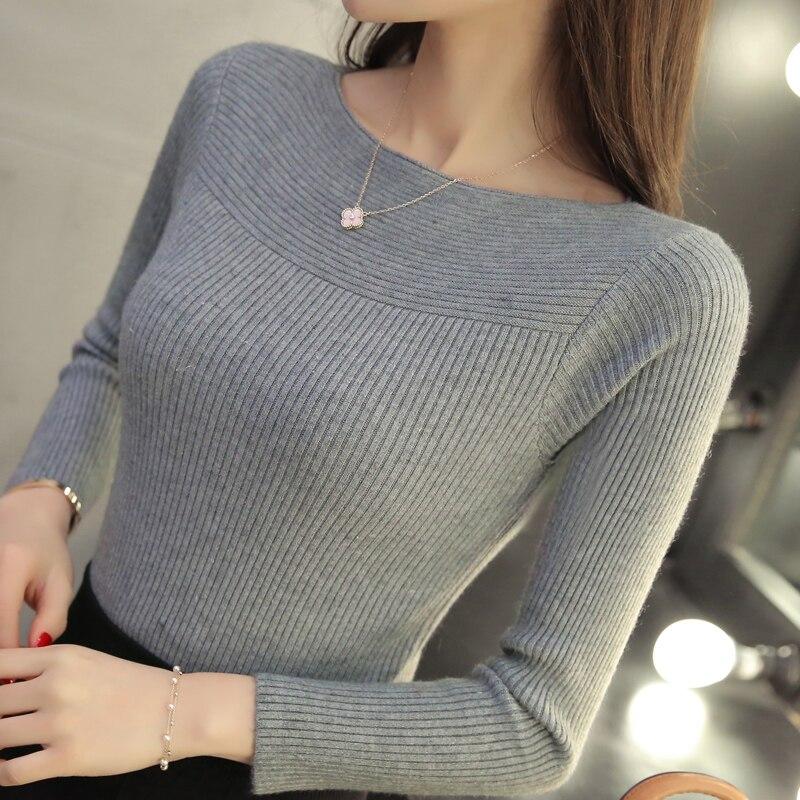 2017 La primavera y el otoño nueva moda delgado suéter de cuello del todo-fósforo de manga corta camisa femenina suéter apretado