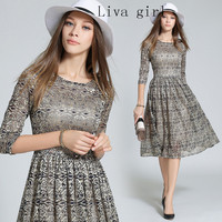 Liva Girl 2016 Autumn European Women S Neck High End Lace Gold Inlay Long Fashion Dress