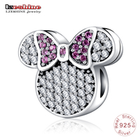 LZESHINE Real 100 925 Sterling Silver AAA CZ Stones Cartoon Charms Beads Fit Bracelets Party Jewelry