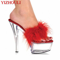 Sexy Crystal 15CM Sexy Feather Design Super Dance Slippers Platforms heels lady 6 inch high heel Dance Shoes