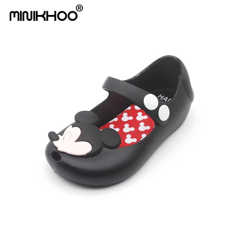 Mini Melissa 2018 New Mickey & Minnie Shoes Kids Sandals Bow Mini Melissa Jelly Shoes Girls Shoes Mickey & Minnie Sandals