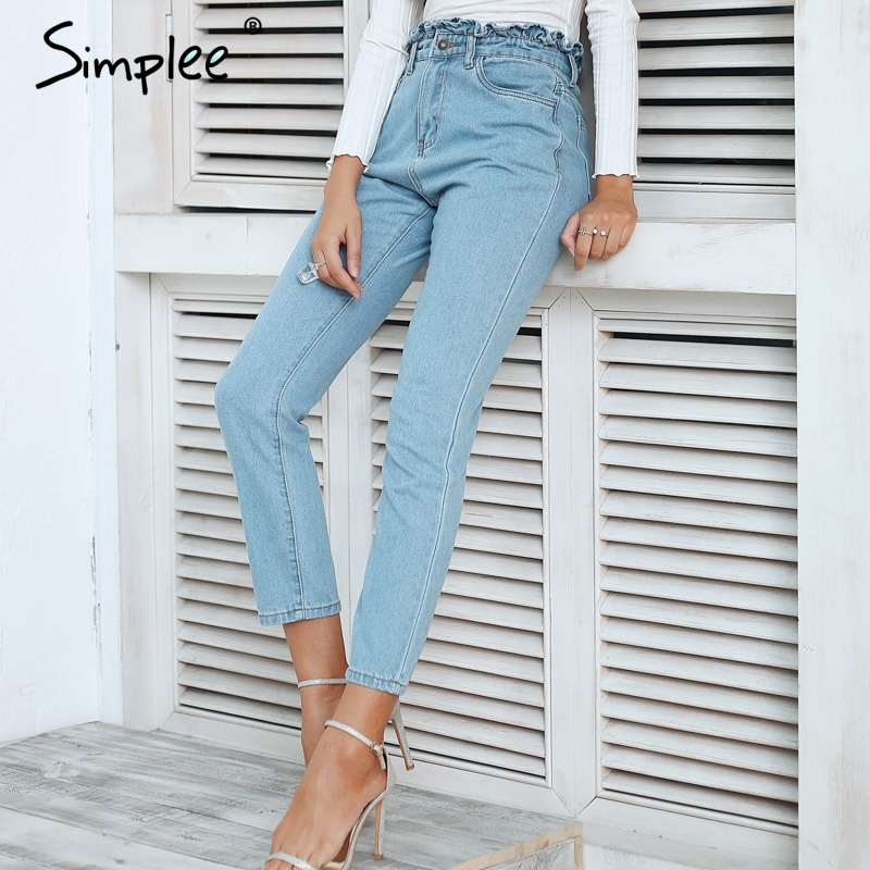 Simplee Pleated push up jeans high waist woman Light blue