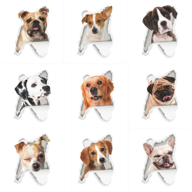 3D View Dogs Wall Hole Stickers For Toilet Bathroom Kids Rooms Decorations PVC Home Decor Wall Refrigerator Car Mural Art Decals