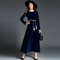 2017 Autumn Winter Evening Party Dresses Velvet Dress With Sashes Women Retro Long Maxi High quality fashion Show Dresses