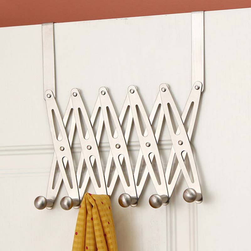6-Hook Flexible Back Door Hanger Rack Bathroom Kitchen Organizer Hanger Hooks Home Storage Rack And Holder Clothes Organizer