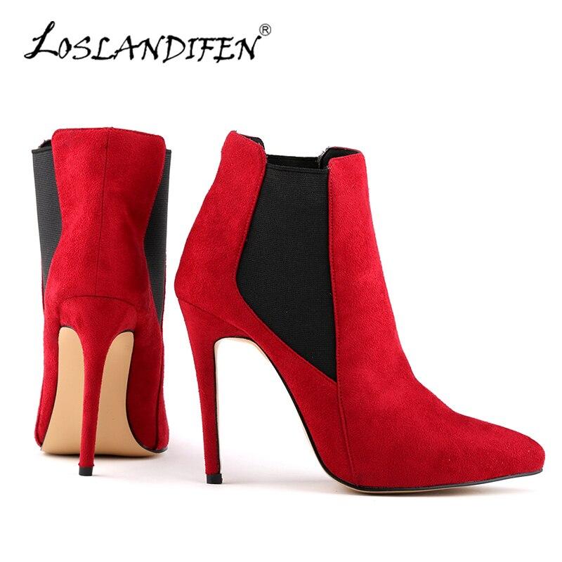 LOSLANDIFENSexy Pointed Toe Flock Women's Winter Boots Stiletto Platform High Heels Ankle Winter Boots For Women Shoes 769-2VE