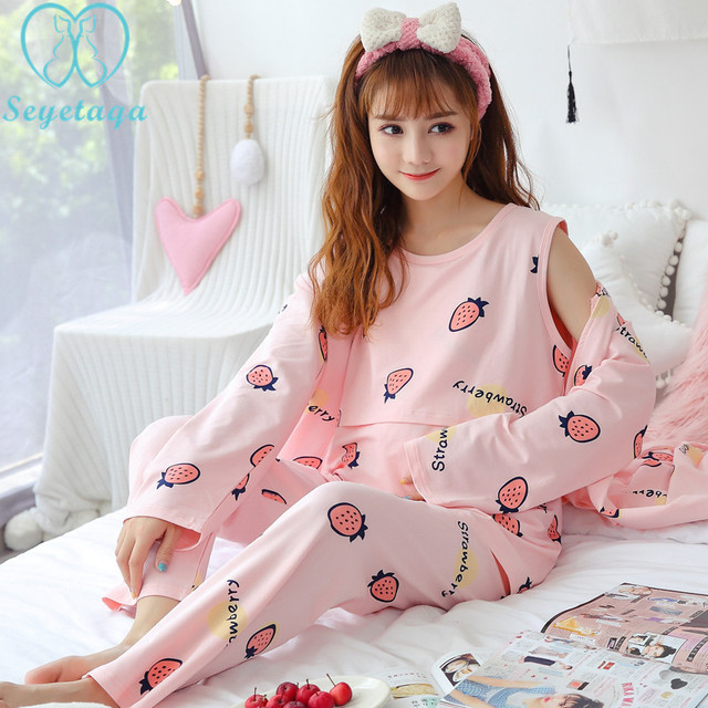 7004  Autumn Print Cotton Maternity Nursing Homewear Summer Autumn Nightwear  for Pregnant Women Pregnancy Pajamas Sleepwear Sets 9af0075c4
