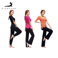 PIERYOGA Brand Women Tracksuits Yoga Sets Breathable Sport Suit Fitness Gym Running Set Yoga Shirt Top