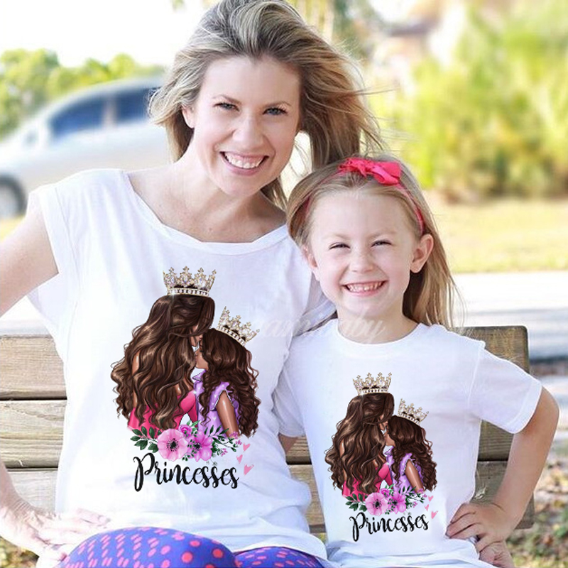 Family T-Shirt Outfits Mommy And Me Cotton Short Print QT-1924