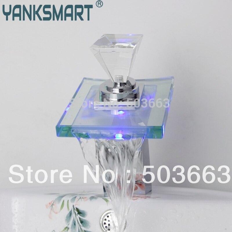 Diamant cascade LED Chrome batterie puissance pont monté mitigeur en laiton bassin évier salle de bains robinet robinet