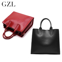 GZL Women genuine leather handbags casual zipper shoulder bags solid color crossbody bag tote female fashion