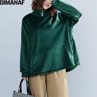 DIMANAF 2018 Winter Women Plus Size Hoodies Sweatshirts Style Velour Warm Female Lady Turtleneck Green Pullovers Loose New Tops
