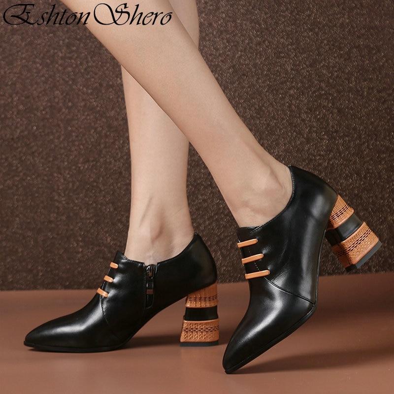 EshtonShero クラシック靴女性パンプスプラットフォーム平方ヒール固体ジッパーポインテッドトゥファッション女性の結婚式の靴サイズ 3  8  グループ上の 靴 からの レディースパンプス の中 1