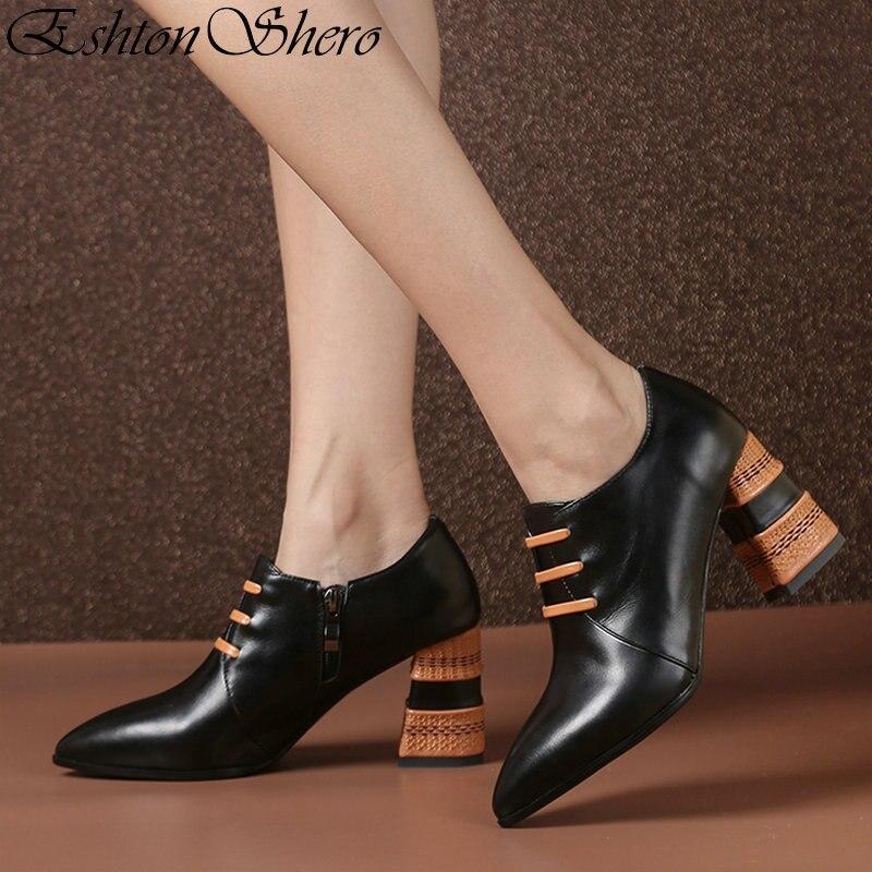 EshtonShero الكلاسيكية أحذية امرأة مضخات منصة ساحة عالية الكعب الصلبة سستة وأشار اصبع القدم أزياء السيدات الزفاف أحذية حجم 3  8-في أحذية نسائية من أحذية على  مجموعة 1