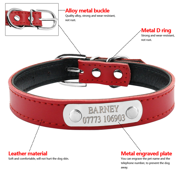 Leather Personalized Cat Collars 5