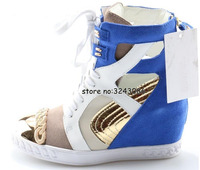 Patchwork Cut out Metal Toe Lady Fashion Ankle Booties High Platform Lace Up Woman Sneakers Rome Style Hidden Wedge Casual Shoes