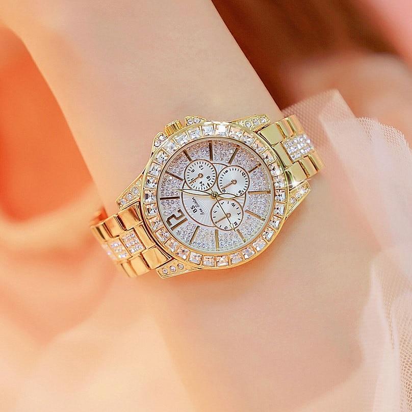 Hot Sale 38mm Big Dial Women Diamond Watches Quartz Watches Ladies Business Dress Watch Girl Fashion Watch Relojes Mujer 2019