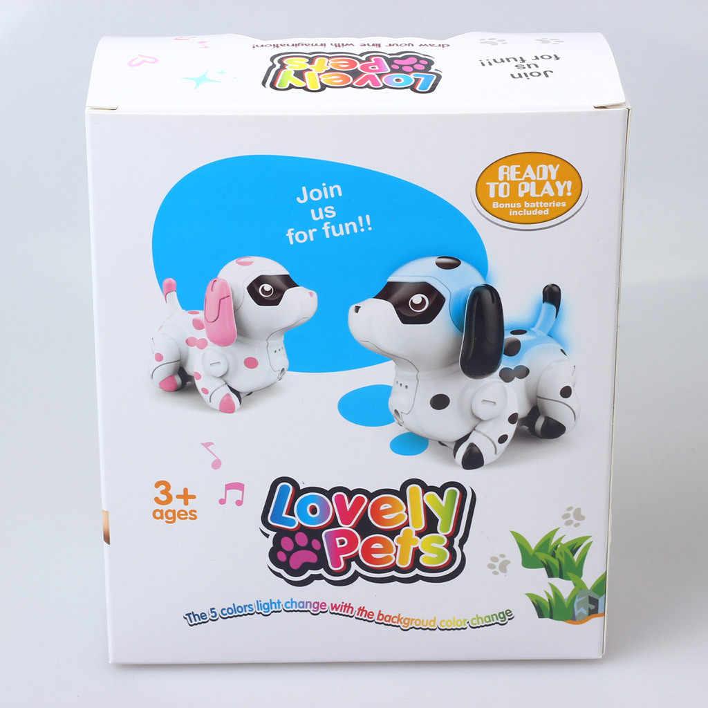 RC Inteligente Cão Manchado Light-Emitting Boneca Para As Crianças Presentes Crianças Engraçado Linha Lineation Cão Robô de Controle Remoto Eletrônico brinquedos para animais de estimação