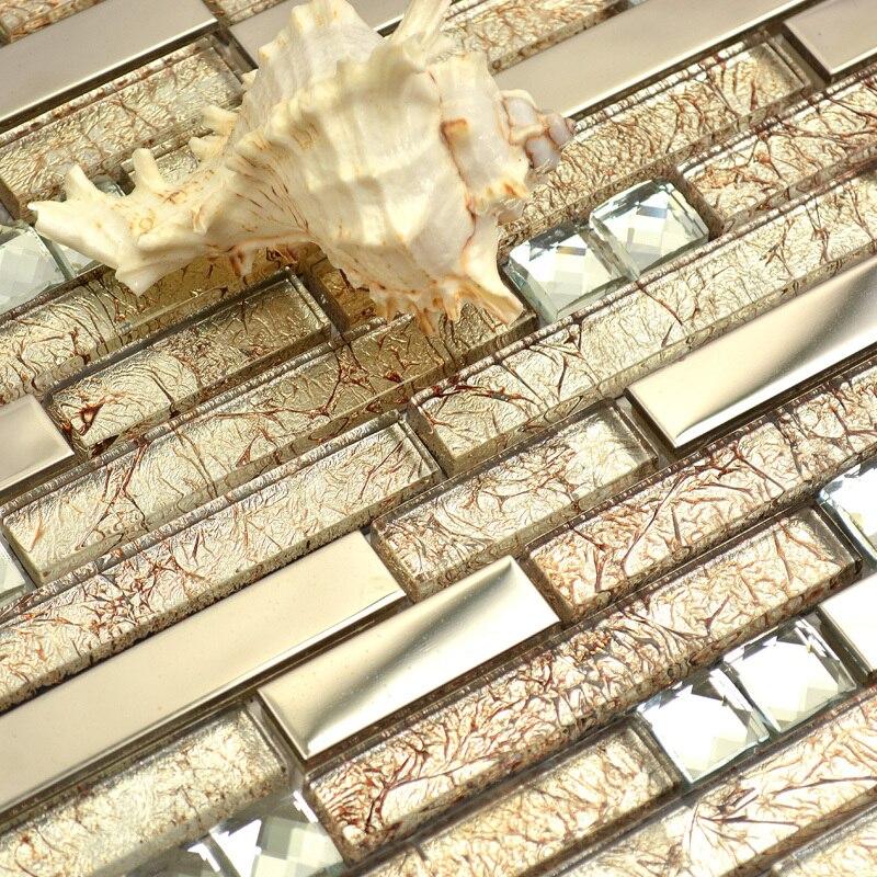 Warm Light Golen Crystal Glass Mixed Metal Diamond Strip