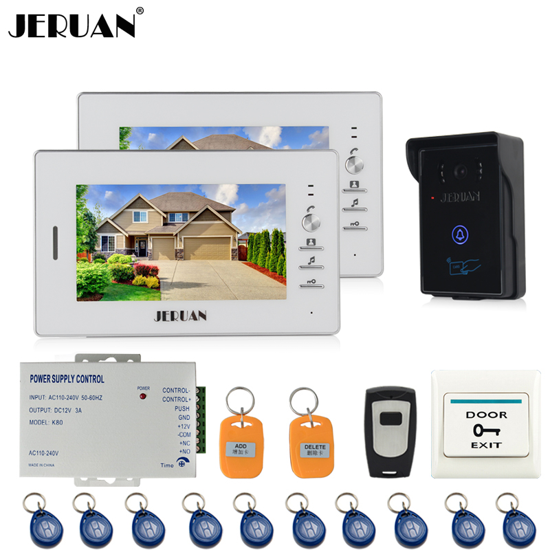 JERUAN Home 7 inch TFT Screen Video Intercom Video Door Phone System 2 white monitors + 700TVL RFID Access waterproof Camera jeruan home 7 inch lcd screen video door phone intercom system 1 monitor 700tvl rfid access camera remote control in stock